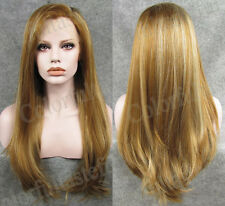 24 inch Long high light Glod Lady Women full wig blonde Lace Front wigs two tone
