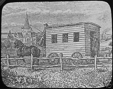 Glass Magic Lantern Slide THE FIRST RAILWAY CARRIAGE C1890 DRAWING