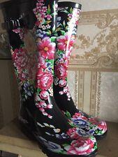 Ladies Tall Inverno Pioggia Impermeabile Stivali Wellington Fiore Taglia 4 COLORE NERO!!!