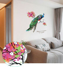 Large Peacock On Blossom Tree Branch Wall Art Stickers Decals Happiness Quotes