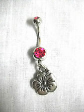 2 SIDED HIBISCUS FLOWER PEWTER CHARM 14g FUSCHIA PINK CZ BELLY BAR NAVEL RING