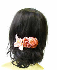 Peach Gold Orchid Carnation Rose Hair Comb Headpiece Vintage Bridesmaid 1943