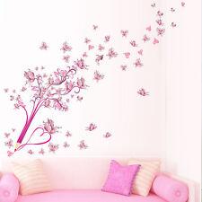 US STOCK Pink Pencil Butterflies Flower Decal Wall Sticker Home Decor Mural Art
