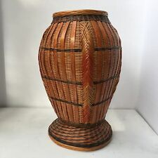 "Vintage 7"" Wicker Vase Basket Multi Color Straw Weave"