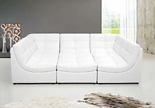 All White Finish Bonded Leather 6p Modular Sectional Sofa Contemporary Furniture
