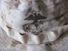 New USMC Camo Boonie Hat Cap Desert Digital Tan,EGA,Strap,  AUTHENTIC,  MEDIUM