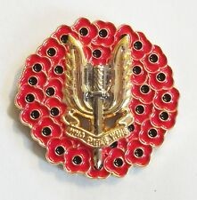 POPPY WREATH SAS (SPECIAL AIR SERVICE) BADGE IN GOLD METAL