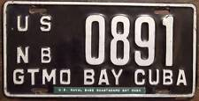 Old Photo. Guantanamo Naval Base Cuba Vehicle License Plate '0891'