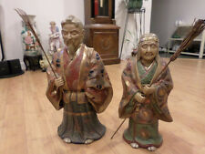 "A Pair of Large Contemporary Japanese Satsuma Longerity Figure 19 1/4"" & 16 1/2"""