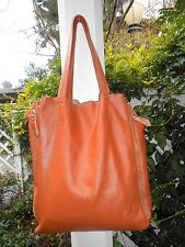 GENUINE TAN  LEATHER Extra Large Shoulder Tote  Bag