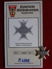 GÖDE Orden SACHSEN WEIMAR EISENACH SILBERNES VERDIENSTKREUZ + ZERTIFIKAT Nr.0081