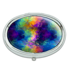 Rainbow Prism Metal Oval Pill Case Box