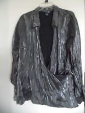 WOMEN VENEZIA SILVER SHINY CROSS OVER WRAP TOP SHIRT SZ  26/28