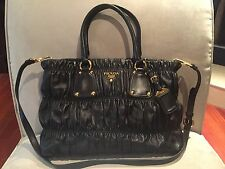$1935 PRADA Gaufre Black Quilted Leather Large Tote Shopper Crossbody Bag