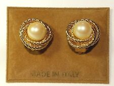 Gorgeous Gold Tone Faux Pearl Clip-on Earrings - Italy
