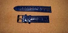 BLUE LEATHER TRIUMPH CROC GRAIN  WATCH STRAP 22MM WITH STAINLESS STEEL BUCKLE