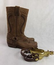 Sancho Handmade Cowboy Western Leather Boots With Spurs UK8 EU42 Made In Spain