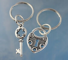 Silver Steampunk Key to My Heart Couples Keychain Set- two key rings- love