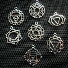 Set of 7 Chakra Symbols Pendants Silver Tone Metal 30mm