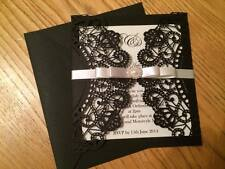 New Personalised/handmade Black Luxury Laser Cut Wedding Invitation