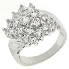 18K W GOLD EP 3.0CT DIAMOND SIMULATED CLUSTER RING size 6 or M
