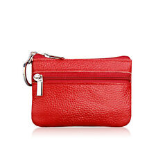 Womens Leather Small Coin Money Card Wallet Clutch Key Holder Pouch Purse Red