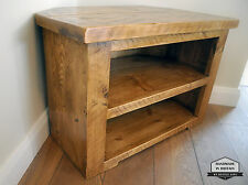 Rustic Pine Corner TV Unit solid chunky wood stand/cabinet with Shelves