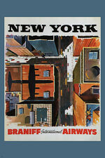 new york vintage TRAVEL poster BRANIFF INTERNATIONAL AIRWAYS USA 24X36 cool