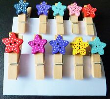 10Pcs Mini Wooden Pegs with Dotty Stars, Photo Clips, Card making-Craft 35mm. UK