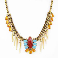 LUCKY BRAND Red Turquoise Resin Stone & Spike Gold-Tone Collar Necklace $55