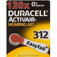 """""""120x DURACELL EasyTab 312 ACTIVAIR Hörgerätebatterie PR41 braun"""
