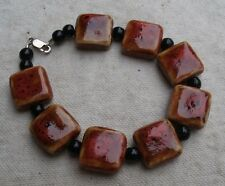 Handmade Stoneware & Glass Bead Bracelet,Red & Black,silver clasp -square,round