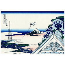 Honganji Temple at Asakusa Hokusai Deco FRIDGE MAGNET, Japanese Woodblock Fuji