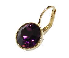 Swarovski Elements Amethyst Purple Bella Earrings Gold Plated Dangle Earrings