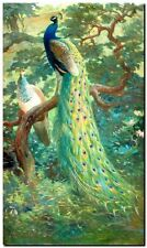 "Vintage Bird Art CANVAS PRINT~ Peacocks tropical garden 16""X12"""