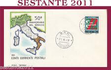 ITALIA FDC ROMA 50° ANNIVERSARIO CONTI CORRENTI POSTALI 1968  ANNULLO BARI G124