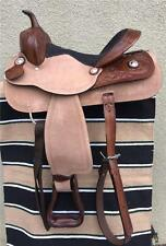 """18""""Pleasure Trail saddle with leather and rough out jockey"""