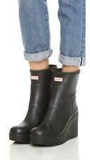 "Hunter Short Refined Matte Black Rubber Rain 4"" Wedge Heel Boots US 9/ UK 7"