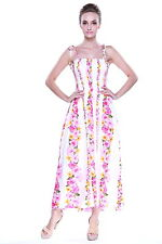 Hawaiian Luau Dress Cruise Maxi Long Tube Elastic White Pink Panel Plus Size