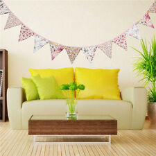 12 Flags Floral Print Cotton Fabric Flag Bunting Tea Party Home Decoration Kids