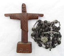 † CHRIST THE REDEEMER RIO VINTAGE STERLING GENUINE CAPPED ROSE SCENTED ROSARY †