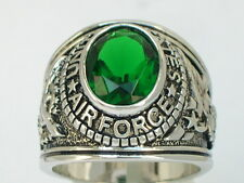 United States Air Force Military May CZ Emerald Stone Men Rhodium Ring Size 9