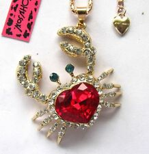 Betsey Johnson bright crystal/Red gem lovely crab pendant Necklace#192L,R