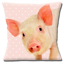 "NEW CUTE PIG ON PALE PINK POLKA DOT WHITE SPOT PHOTO 16"" Pillow Cushion Cover"