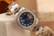 ROLEX LADIES DIAMOND OYSTER DATE WATCH W/ CUSTOM DIAMONDS & MOTHER OF PEARL MOP