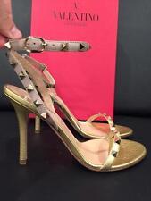 NIB Valentino Rockstud Gold Nude Leather Ankle Strap Sandal Heel Pump 36.5 $975