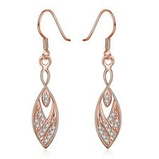 Lady Earrings Dangle Plated 18K Rose Gold Zircon Fashion Jewelry LF