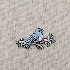 Embroidered Patch - Iron on Applique Small Blue Bird on Limb with Flowers