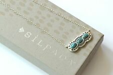 "Silpada NIB Sterling Silver ""Sail Away"" Turquoise Etched Danty Necklace N3247"