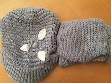 knitted/Crochet hat and Scarf Set; White; Purple; Grey; Red; Black: Beige